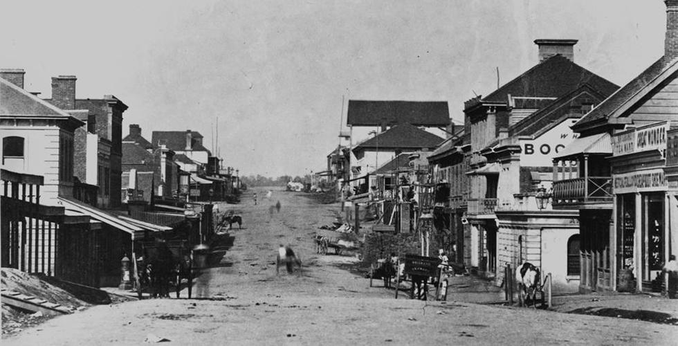Early-view-of-Queen-Street-Brisbane-Queensland-ca.-1864