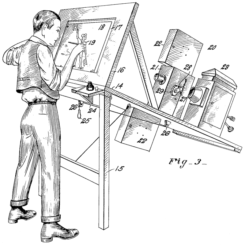 Drawing from the patent application for the Rotoscope